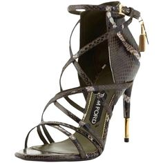 Pre-owned Tom Ford Padlock Ankle-wrap Snake Military Green Sandals (79.205 RUB) ❤ liked on Polyvore featuring shoes, sandals, military green, ankle strap sandals, olive green shoes, snake skin shoes, criss-cross sandals and ankle strap shoes