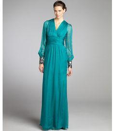 Badgley Mischka teal pleated and beaded silk chiffon sheer long sleeve dress thestylecure.com