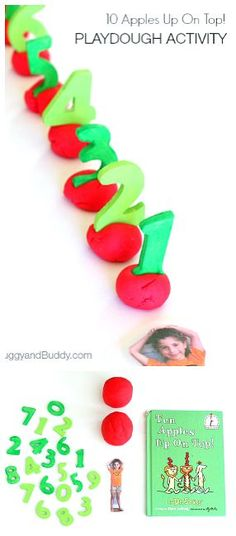 Counting Playdough Activity Inspired by Ten Apples Up on Top! (Makes a great center!) ~ BuggyandBuddy.com