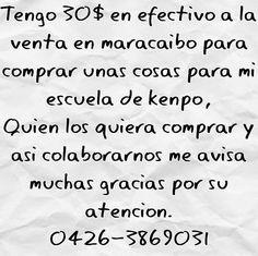 21-01-2017 Tengo 30$ en efectivo a la venta en maracaibo para comprar unas cosas para mi escuela de kenpo Quien los quiera comprar y asi colaborarnos me avisa muchas gracias por su atencion. 0426-3869031  @ebskenpo @ebstrainner #kenpo #karate #$ #lechugas