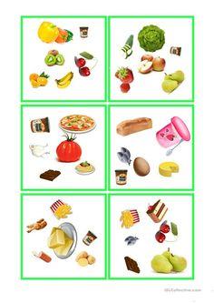 Essen und Tinken - dobble Food Spot, English Lessons, Board Games, Worksheets, Kindergarten, Printables, Activities, Health, Free Time