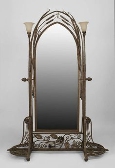French Art Deco Wrought Iron Cheval Mirror Attributed to Paul Kiss, circa 1920's image 2