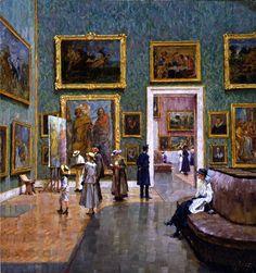 Uma visita à Pinacoteca de Munique, 1917 Charles Friedrich Alfred Vetter (Alemanha 1858-1936) óleo sobre tela