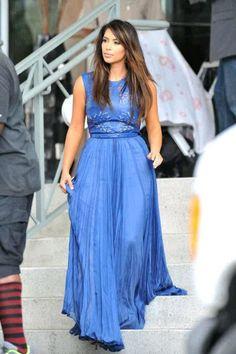 Kim Kardashian - Blue Cutout Gown