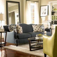 Grey and yellow living room decor gray decorating ideas designs. Couches Living Room, Dark Grey Couch Living Room, Living Room Decor Gray, Grey Home Decor, Fall Living Room, Living Room Grey, Cozy Apartment Decor, Home Decor, Yellow Decor Living Room