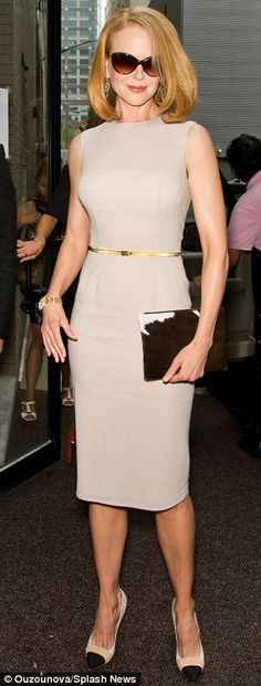 Nicole Kidman (46) in dove grey at Calvin Klein's show during New York Fashion Week, Sept 2013