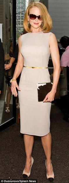 Nicole Kidman (46) in dove grey at Calvin Klein's show during New York Fashion Week, Sept 2013
