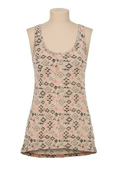 High-Low Triangle Print Burnout Tank (original price, $20) available at #Maurices