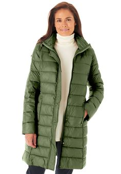 Packable long puffer jacket