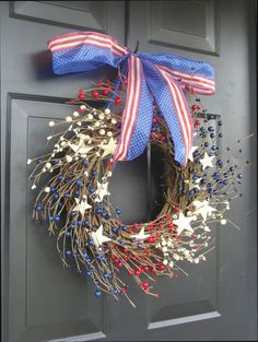 Berry Wreath, July 4th Decor, Americana, Patriotic Wreath, Americana Decor, Memorial Day Wreath, Rustic Wreath, Primitive Decor