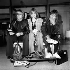 Emerson, Lake and Palmer at Heathrow airport in 1974
