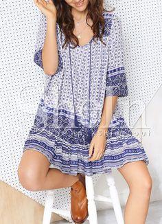 Blue+Half+Sleeve+Tribal+Print+Dress+16.99