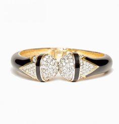 Art Deco Style Black Enamel and Rhinestone Bracelet