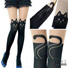 NEW Japan Kitten Print Knee High Length Socks CAT TAIL TATTOO TIGHTS PANTYHOSE