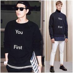 Park Hae-jin in Acne Studios You First sweatshirt August 2014 韩国演员朴海镇结束日本行程经由金浦国际机场返韩,一身黑色休闲装搭配粉色系运动鞋,酷劲十足。