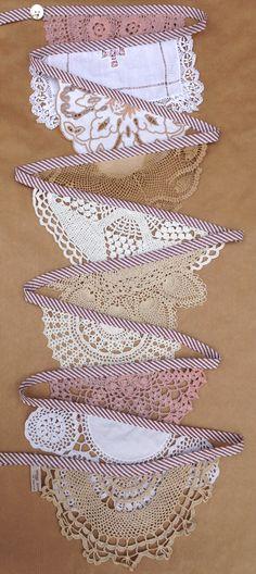 Vintage Doily Wedding Bunting Garland (Grande Willow and Snowdrop) Handmade Crochet in Brown, Beige, White and Cream! http://www.etsy.com/uk/shop/DaisiesBlueShop
