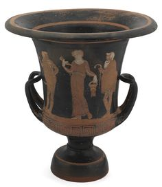 1903.70.f Clay calyx-krater vase, found at Lipari, Italy, 350–325 BC.