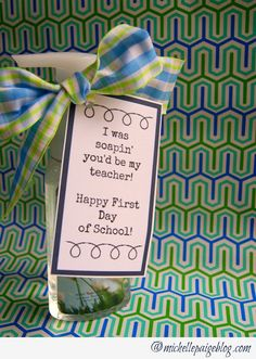 This is a funny saying, this with some apple soap will be cute for Reid's Kinder teacher!