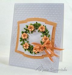 Pretty wreath card made with Poppy Stamps wreath die - 2 cuts of die offset to add fullness to wreath.