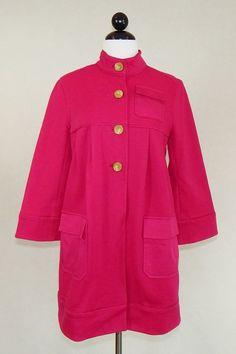 DVF DIANE VON FURSTENBERG Pink Jezebelle Stretch Cotton Coat Jacket Size 8 #DianevonFurstenberg #BasicJacket #Casual