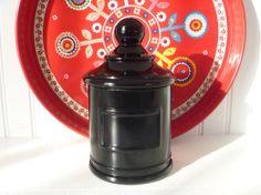 Black  Amethyst Glass Apothecary Jar Akro Agate, JV  CO.  INC., Jean Vivaudou Co