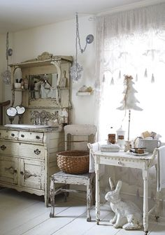 Shabby Chic Bathroom --- look @ that sink!  AND the RABBIT