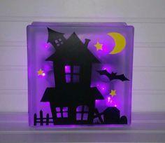 Halloween Glass Block, Halloween Decor, Glass Block by Sarahskraftkorner78 on Etsy https://www.etsy.com/listing/239014676/halloween-glass-block-halloween-decor