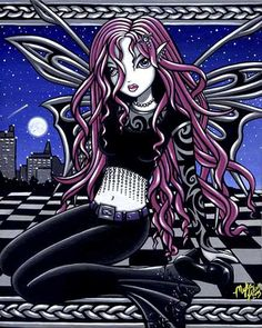 Shop Stacy Pink Feary City Scape Tattooed Poster created by mykajelina. Personalize it with photos & text or purchase as is! Gothic Fantasy Art, Elves Fantasy, Fantasy Dolls, Fantasy Fairies, Gothic Angel, Gothic Fairy, Faerie Tattoo, Tattoo Posters, Unicorns And Mermaids