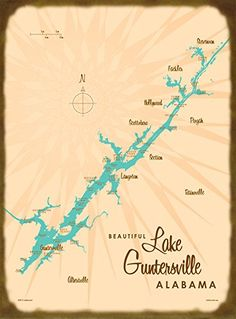 Lake Guntersville, AL Map Wood Sign. Our 1950's style maps look fantastic on these vintage-inspired slatboard wood or metal signs. Choose your material and dimension. They will look great in your home or cabin, and they make great gifts! Comes ready to hang with a sawtooth hook on the back. A note on production: We work with a sign maker in Montana where all of our products are made-to-order. Production time for signs is typically 10-12 business days, and can be longer during summer and…