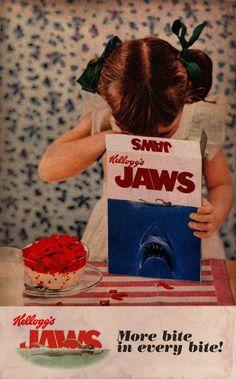 "Kellogg's 'Jaws' Cereal...I can almost hear the commercial's music in my head...""Do-Doo Do-Doo Do-Doo Do-Doo"""