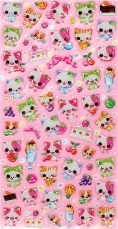 Japanese sticker cute glitter cats Q-Lia kawaii - Sticker Sheets - Sticker - Stationery - kawaii shop modeS4u