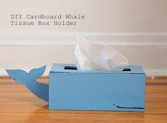 Pink Stripey Socks: DIY Cardboard Whale Tissue Box Holder