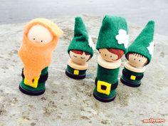 Leprechaun Peg Dolls - to inspire fun and mischievous play   MollyMooCrafts.com #stpatricksday