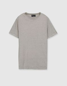 Camiseta raya fina manga doblada - Estampadas - Camisetas - Ropa - Hombre - PULL&BEAR México