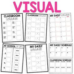 Visual Classroom Schedules - Editable by Brooke Reagan Visual Schedule Printable, Visual Schedule Preschool, Schedule Cards, Preschool Special Education, Visual Schedules, Classroom Daily Schedule, Classroom Setup, Preschool Speech Therapy, Conscious Discipline