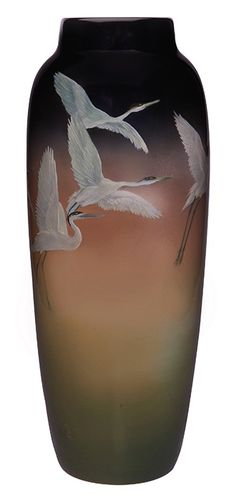 "Kataro Shirayamadani for Rookwood Pottery, Cranes vase, #907C, Cincinnati, OH, 1908, Iris glazed ceramic, marked, 5.5""dia x 14""h  
