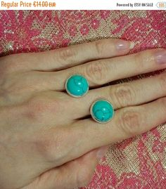 Turquoise Stud Earrings. Sterling silver bohemian jewelry blue round gemstone  earrings 12mm natural howlite stone december birthstone by MyJewelsGarden Myjewelsgarden Resin Jewellery