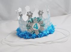 Frozen Inspired Crown Birthday Party Hat by CardsandMoorebyTerri, $15.00