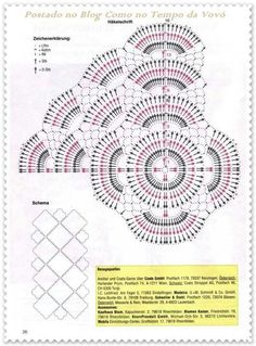 Crochet: IDEA for tablecloths Crochet Bolero Pattern, Crochet Doily Patterns, Crochet Diagram, Crochet Chart, Crochet Squares, Filet Crochet, Crochet Designs, Crochet Doilies, Crochet Stitches
