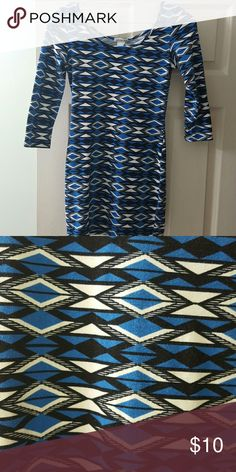 Aztec print bodycon dress Form fitting Aztec blue, black and white printed dress. 3/4 length sleeves. Size small Charlotte Russe Dresses Mini