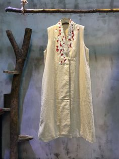 Buy Beautiful Floral Embroidery Long Linen Elegant Vest Quilted Custom Waistcoat in Outerwear online shop, Morimiss offers Outerwear to make you feel comfortable Kurti Embroidery Design, Embroidery Fashion, Floral Embroidery, Kurta Designs Women, Blouse Designs, Abaya Fashion, Fashion Dresses, Pakistani Dress Design, Embroidered Clothes