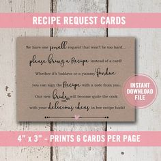 Printable Bridal Shower Recipe Request Cards On Brown Kraft Paper This Listing Is For Upon Purchase You Will Receive Your