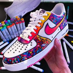 This limited / hype custom Nike Air Force One shoe is handmade and hand painted with acrylic paints (it is both a men's and women's sneaker, a unisex sneaker and a perfect birthday gift or purchase… Air Force One Shoes, Nike Shoes Air Force, Custom Painted Shoes, Nike Custom Shoes, Painted Sneakers, Aesthetic Shoes, Cute Sneakers, Men Sneakers, Hype Shoes