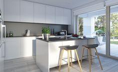 Dostępny 4A - wizualizacja 7 - mały dom z garażem jednostanowiskowym i antresolą House Extension Design, Extension Designs, House Extensions, Home Renovation, Planer, House Plans, How To Plan, Modern, Kitchen