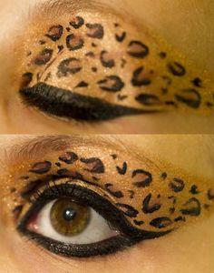 carnival 2012 make-up inspiration: leopard print eyeshadow - Amy Kepler Pretty Halloween, Halloween Makeup, Halloween Diy, Halloween Face, Makeup Tricks, Jungle Costume, Giraffe Costume, Cheetah Makeup, Leopard Costume