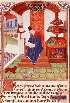 """""""Author writing under a canopy, with lectern."""" French manuscript, Fleurs de Toutes Vertus. 1460."""