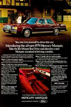 The 1979 Mercury Marquis was an entirely new car from the tires to the roof. Downsized dramatically it would ride this basic chassis and undergo only one major restyle for the rest of its lifecycle. Ford Ltd, Mercury Marquis, Mercury Cars, Grand Marquis, Car Brochure, Us Cars, Cars Usa, Lincoln Mercury, Car Advertising
