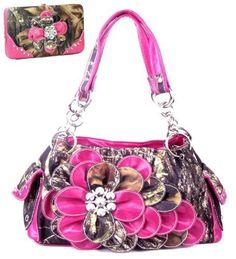 Western Pink Camouflage Flower Rhinestone Handbag W Matching Wallet. Beautiful matching purse and wallet set. Purse Size: 13(L) X 8(H) X 4.5(W). Wallet Size: 7.5(L) X 4.5(H) X 1(W). Feel leather. Beautiful Pink Flower with Rhinestone Accents.