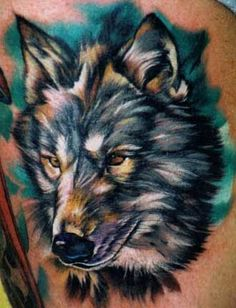 Colorful Wolf Tattoo  ~~ i love the colors