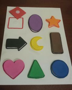 Foam shape and color matching for toddler.  Only used foam sheets, markers, and velcro dots